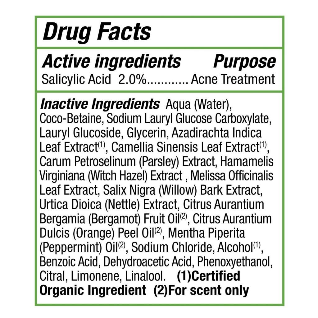 Alba Botanica Acnedote deep pore wash ingredients
